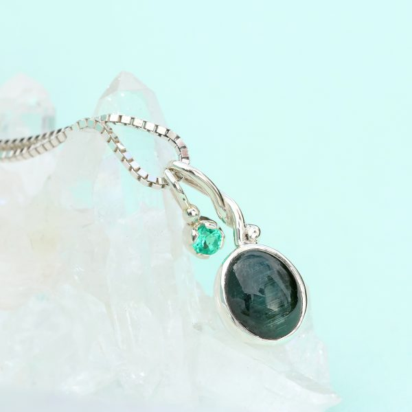 cats eye silver green tourmaline pendant