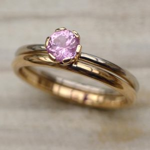 pink sapphire bridal ring set