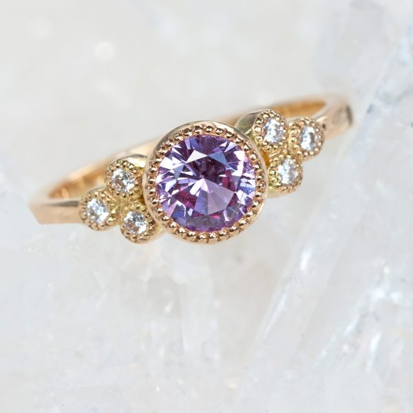 purple sapphire cluster ring
