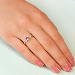 violet sapphire and diamond rose gold ring