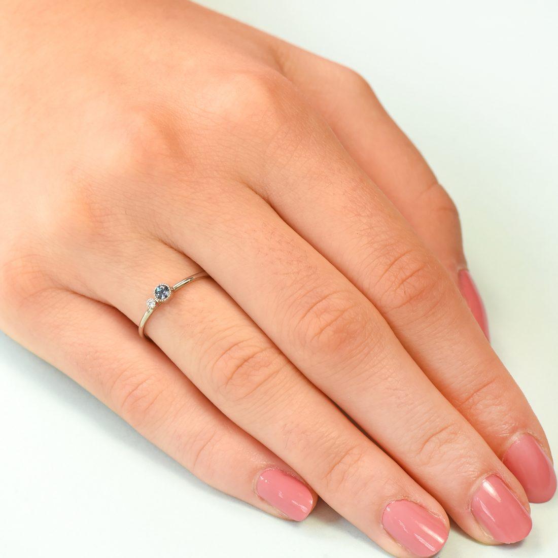 alexandrite birthstone stacking ring