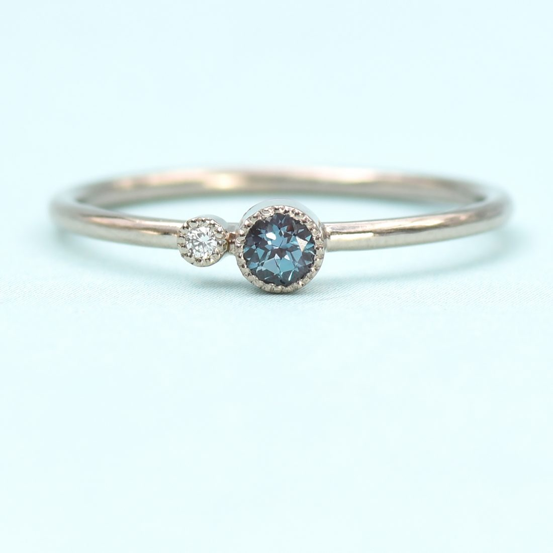 alexandrite birthstone stacking ring