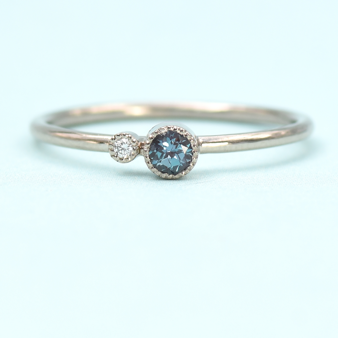 3629e204063698 18ct White Gold Alexandrite Birthstone Stacking Ring Lilia Nash ...