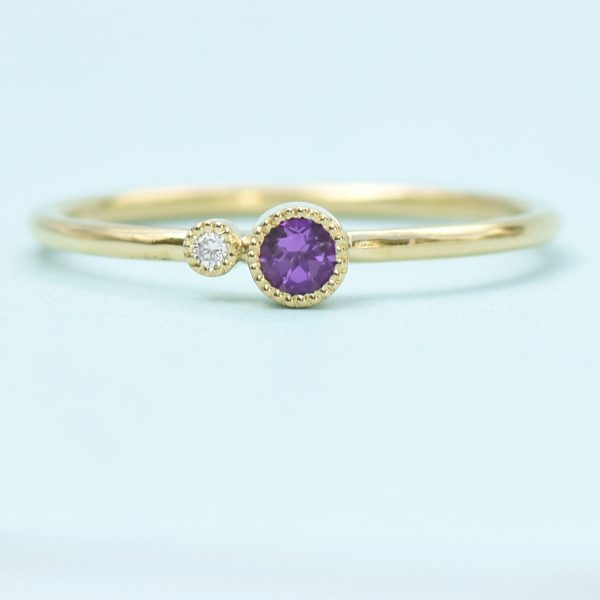 amethyst birthstone stacking ring