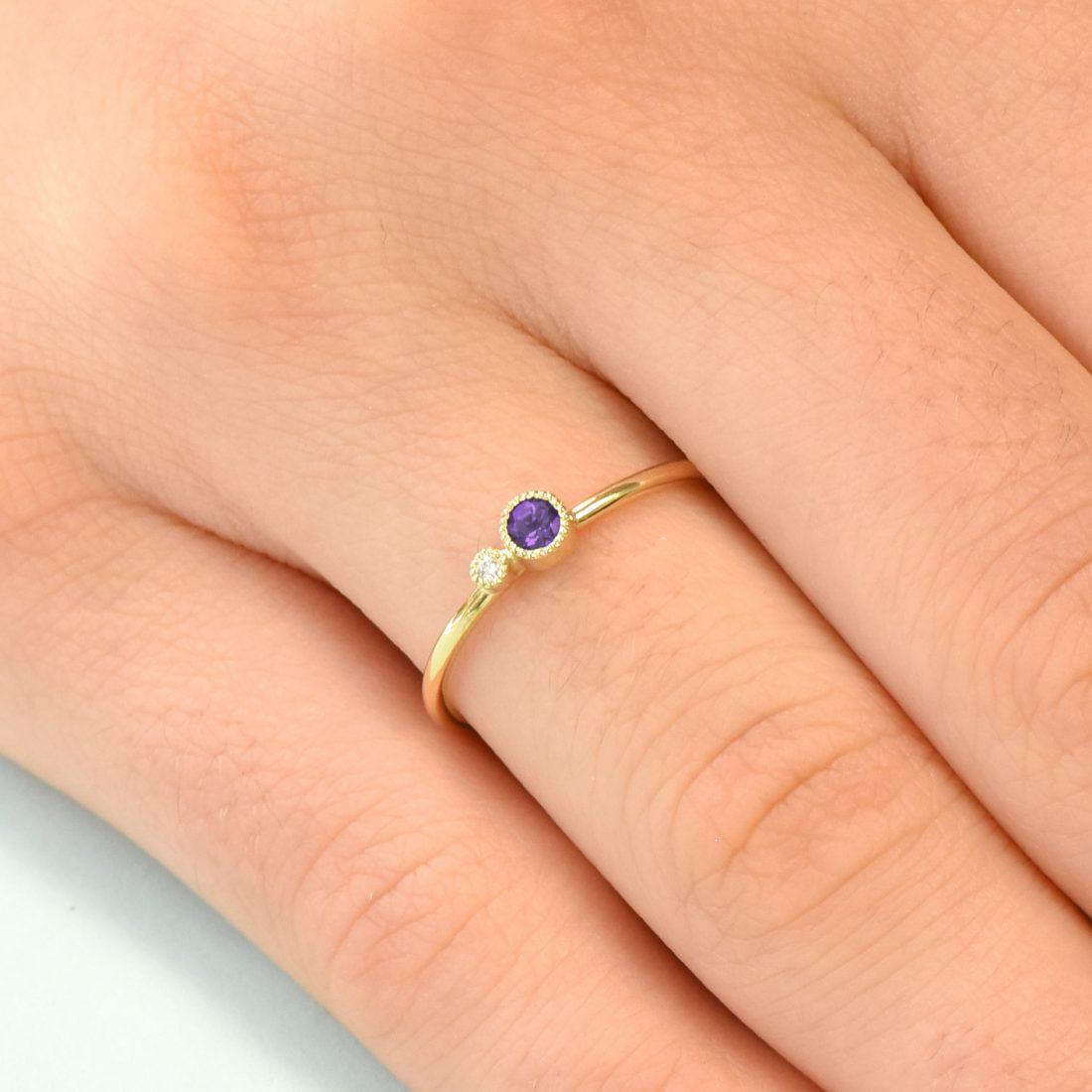 amethyst birthstone stacking ring