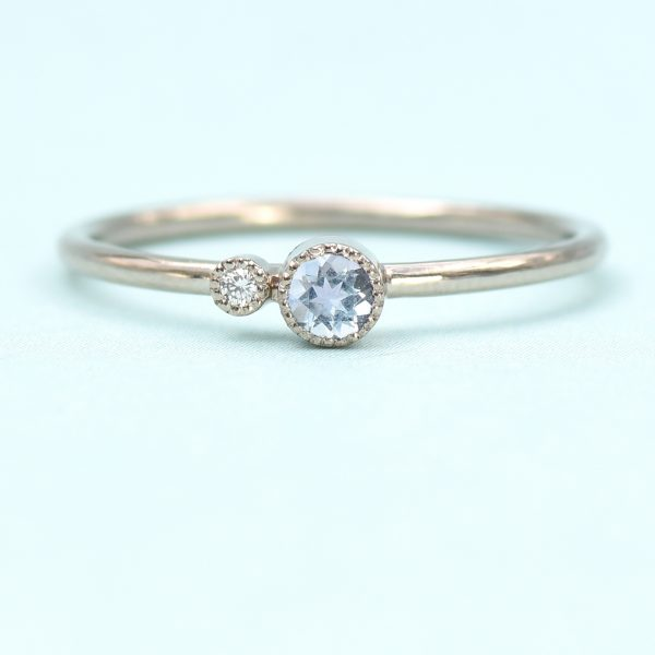 aquamarine birthstone stacking ring