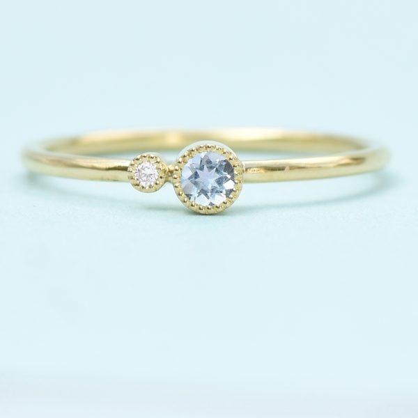 aquamarine birthstone stacking ring