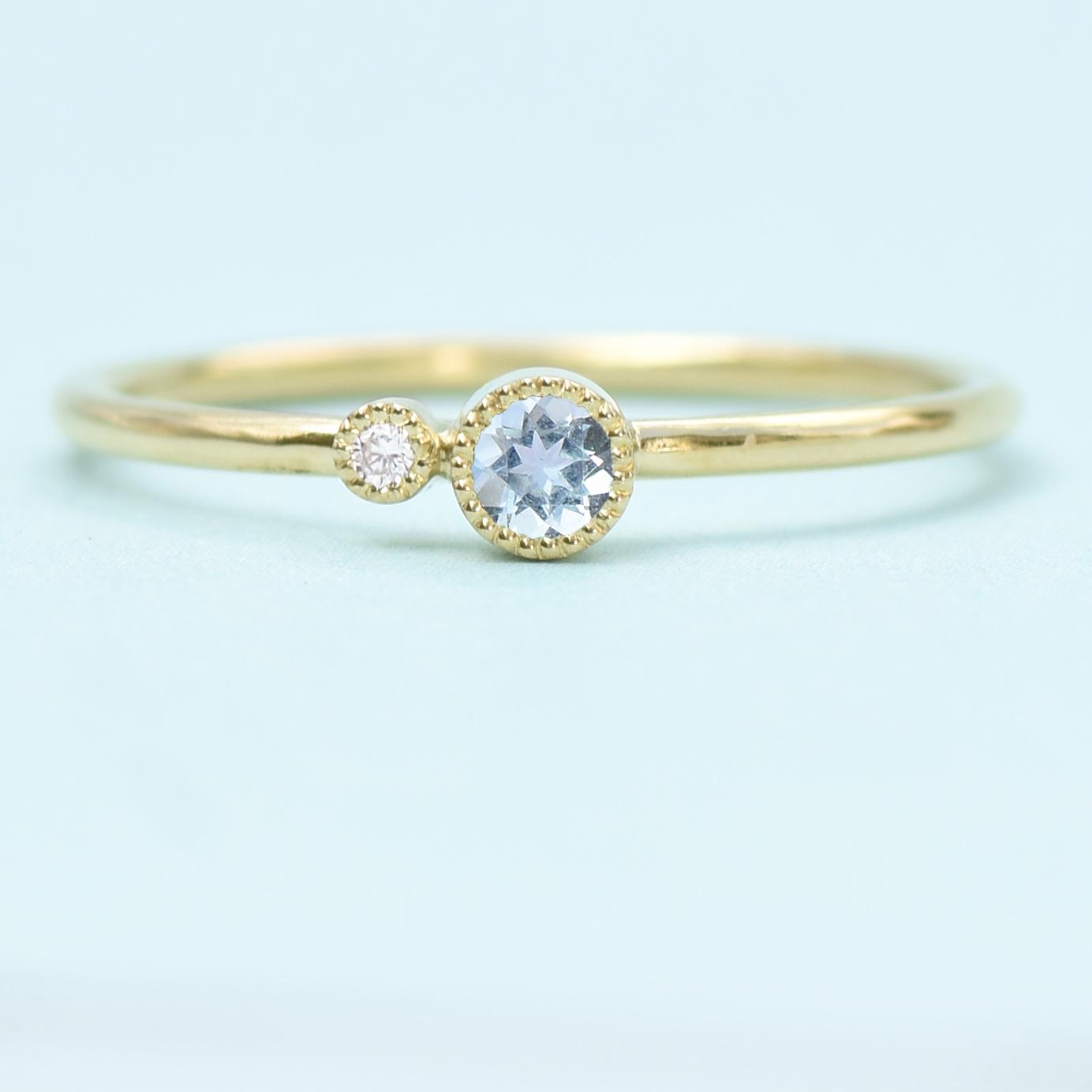 f99a982ff5b448 18ct Gold Aquamarine Birthstone Stacking Ring Lilia Nash Jewellery