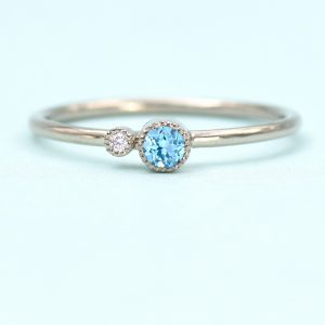 Blue Topaz Stacking Ring With Diamond Accent Birthstone Rings