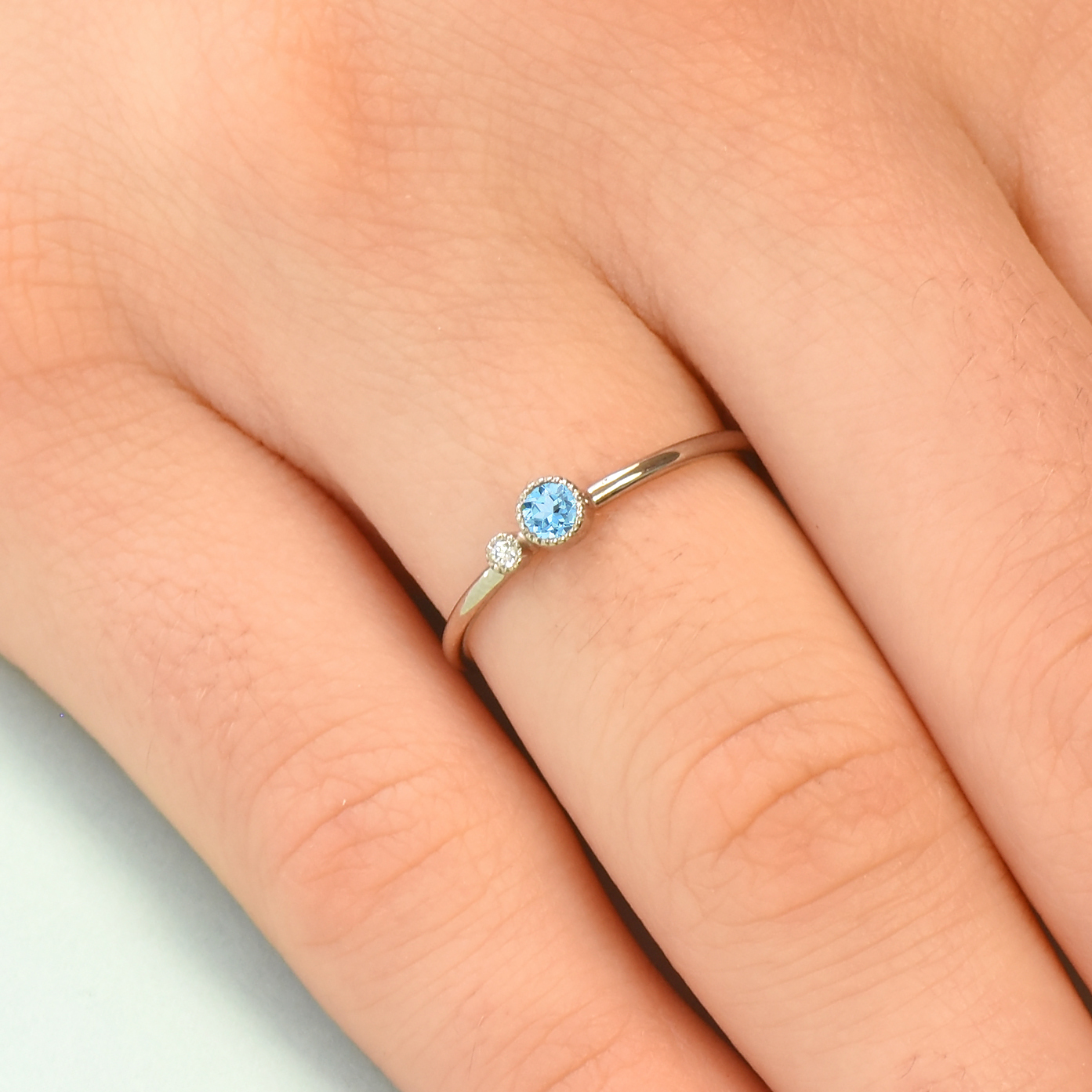 679292d6c65a1 Blue Topaz Stacking Ring with Diamond Accent | Birthstone Rings | December  Birthstone