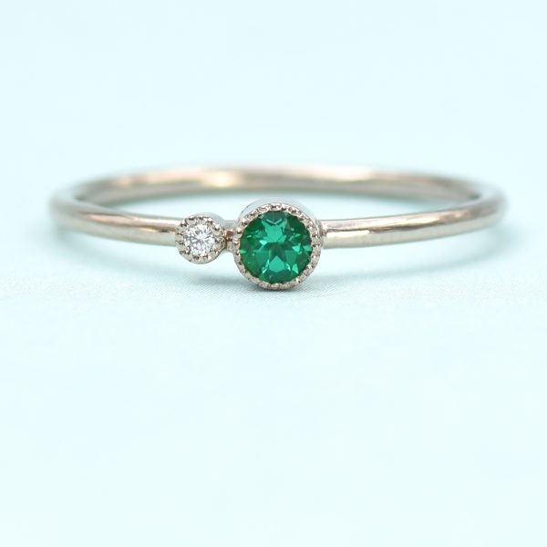emerald birthstone stacking ring
