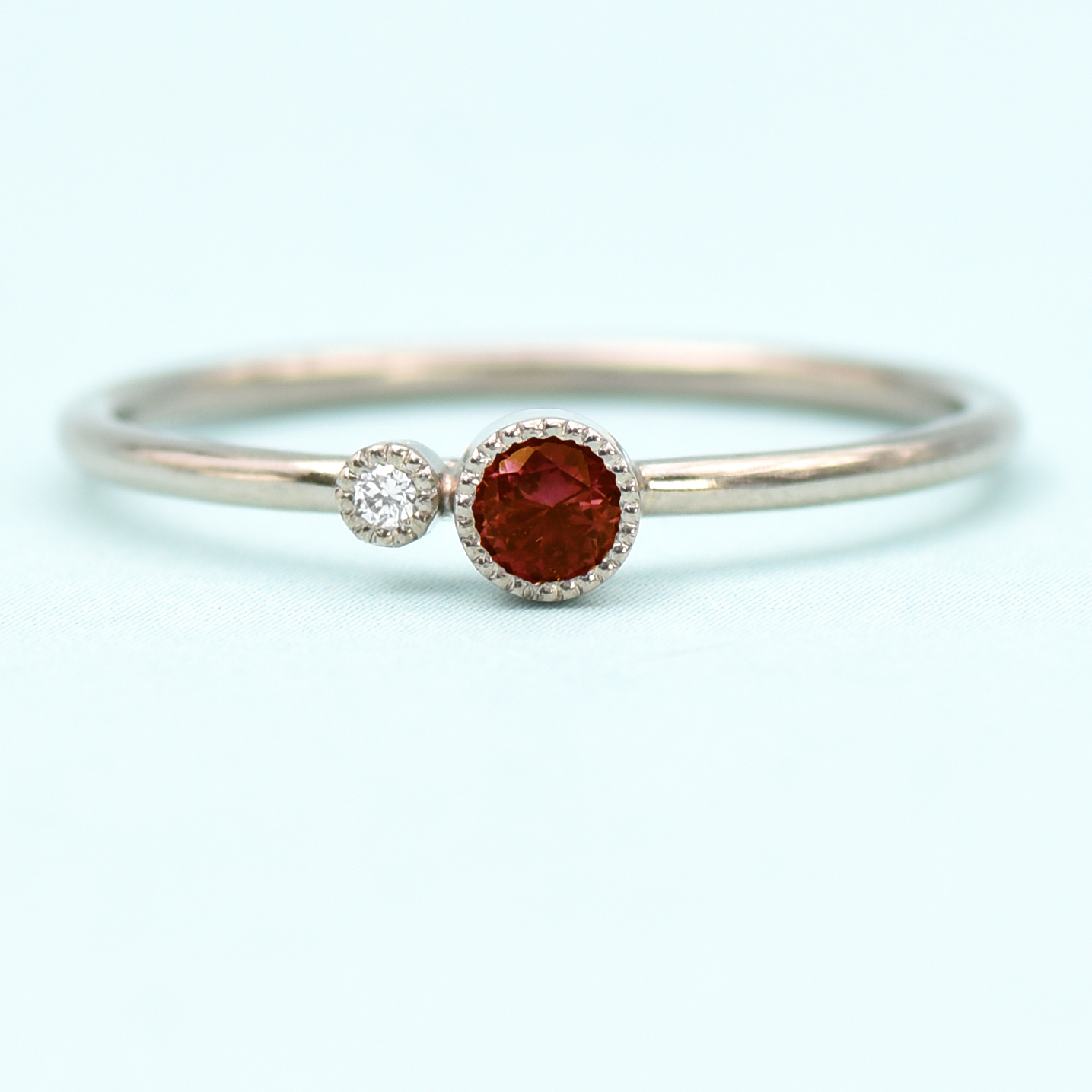 715c3bd360b9b 18ct White Gold Garnet Birthstone Stacking Ring - Lilia Nash Jewellery