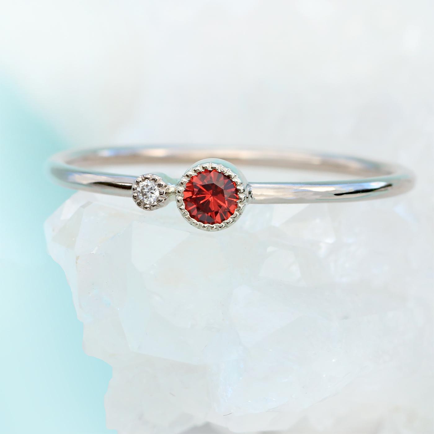 3247a6953f6c3a 18ct White Gold Garnet Birthstone Stacking Ring - Lilia Nash Jewellery