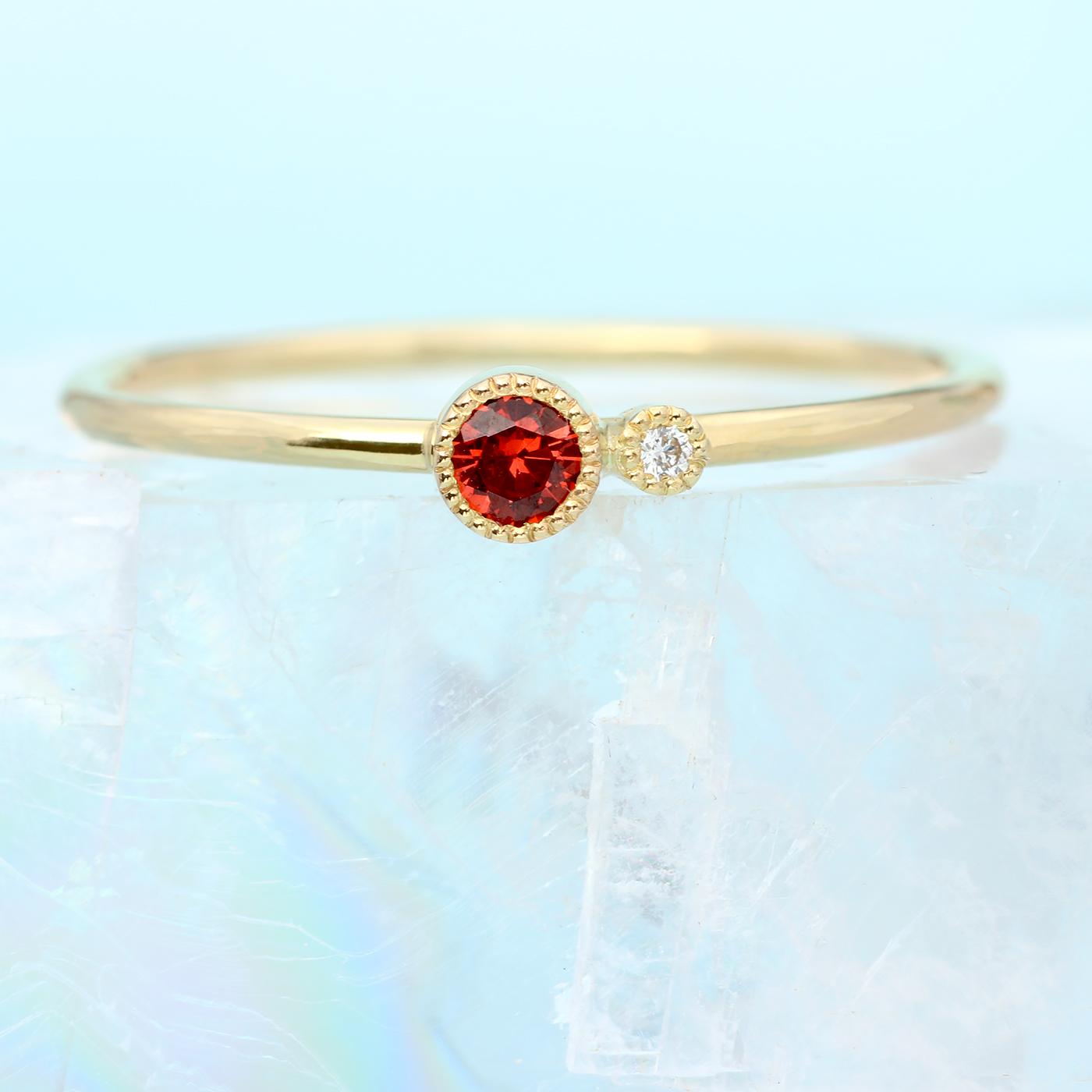 58006e40faef74 18ct Gold Garnet Birthstone Stacking Ring - Lilia Nash Jewellery
