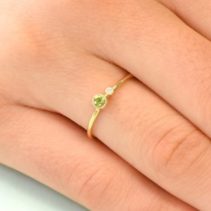 peridot birthstone stacking ring