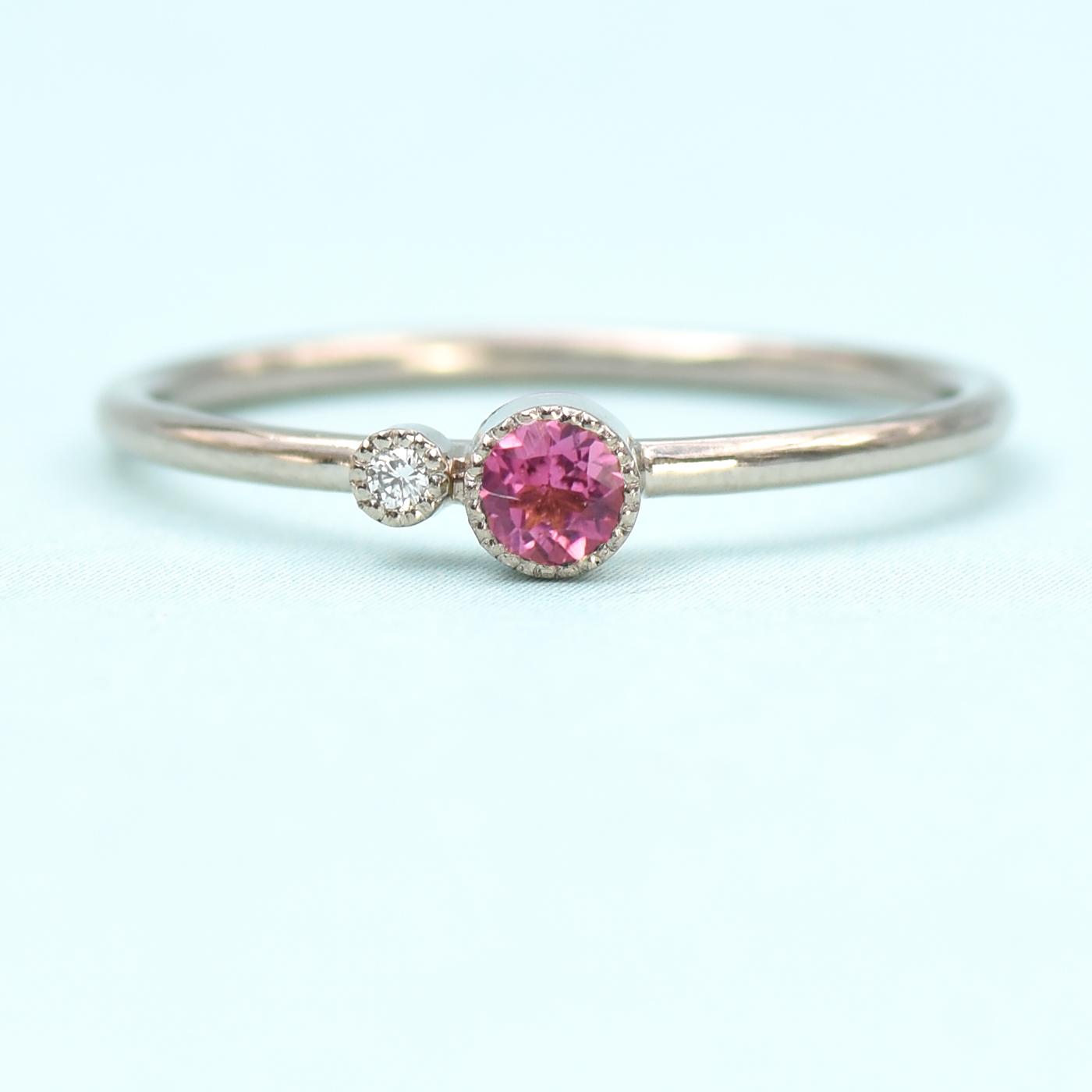 0a66225620783 18ct White Gold Diamond & Pink Tourmaline Ring (October Birthstone)