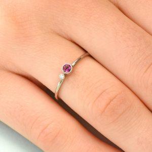 tourmaline birthstone stacking ring