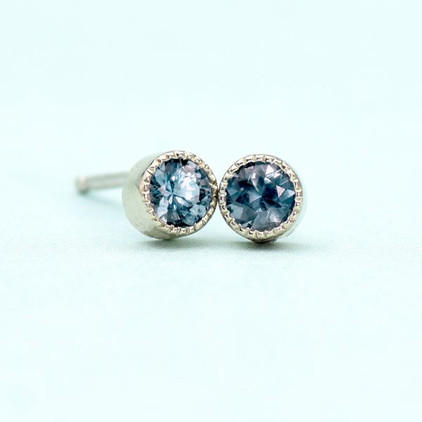 alexandrite stud earrings white gold