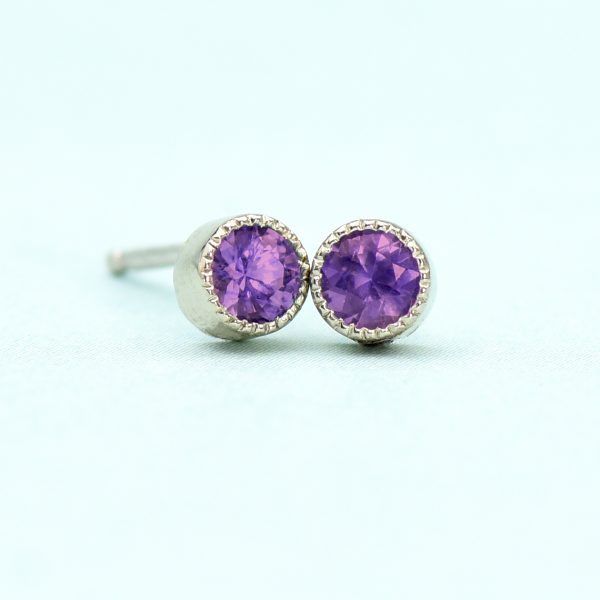 amethyst stud earrings white gold