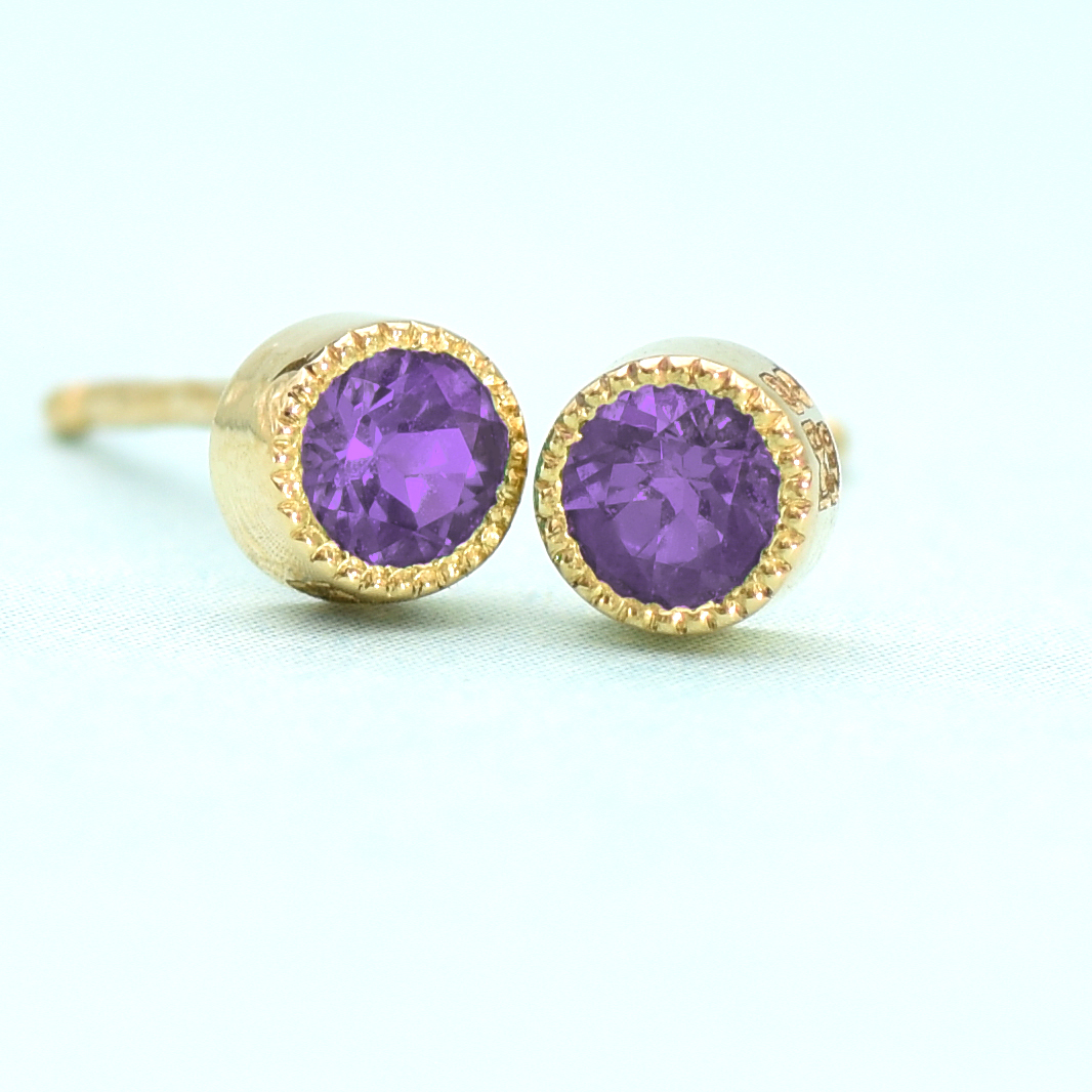 Amethyst Stud Earrings Yellow Gold