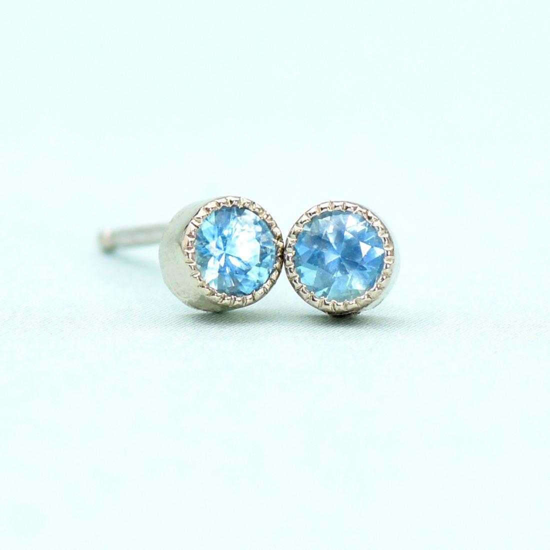 blue topaz stud earrings white gold