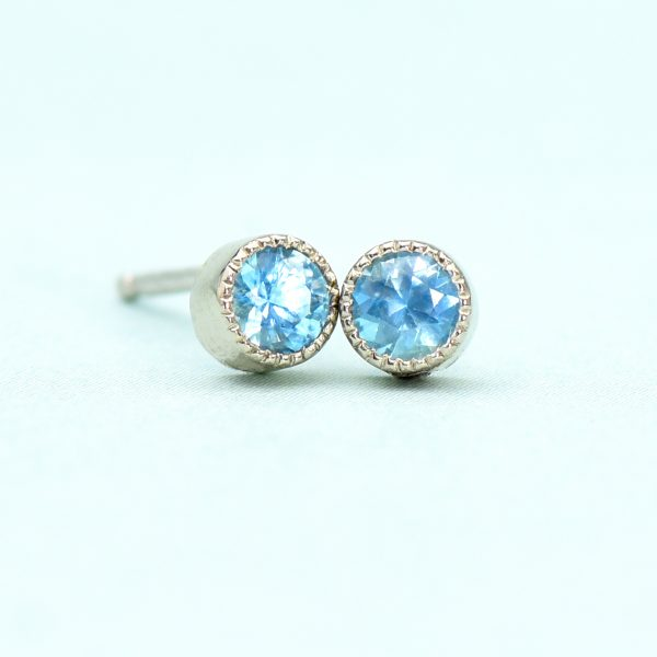 blue topaz stud earrings white gold