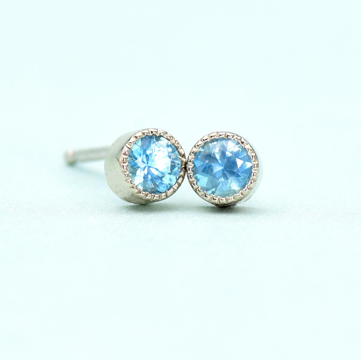 Blue Topaz Stud Earrings In 18ct White Gold December Birthstone