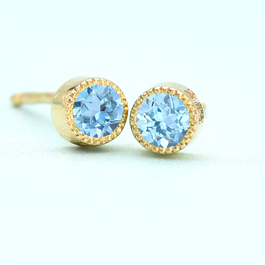 18ct Gold Blue Topaz Stud Earrings December Birthstone Lilia Nash