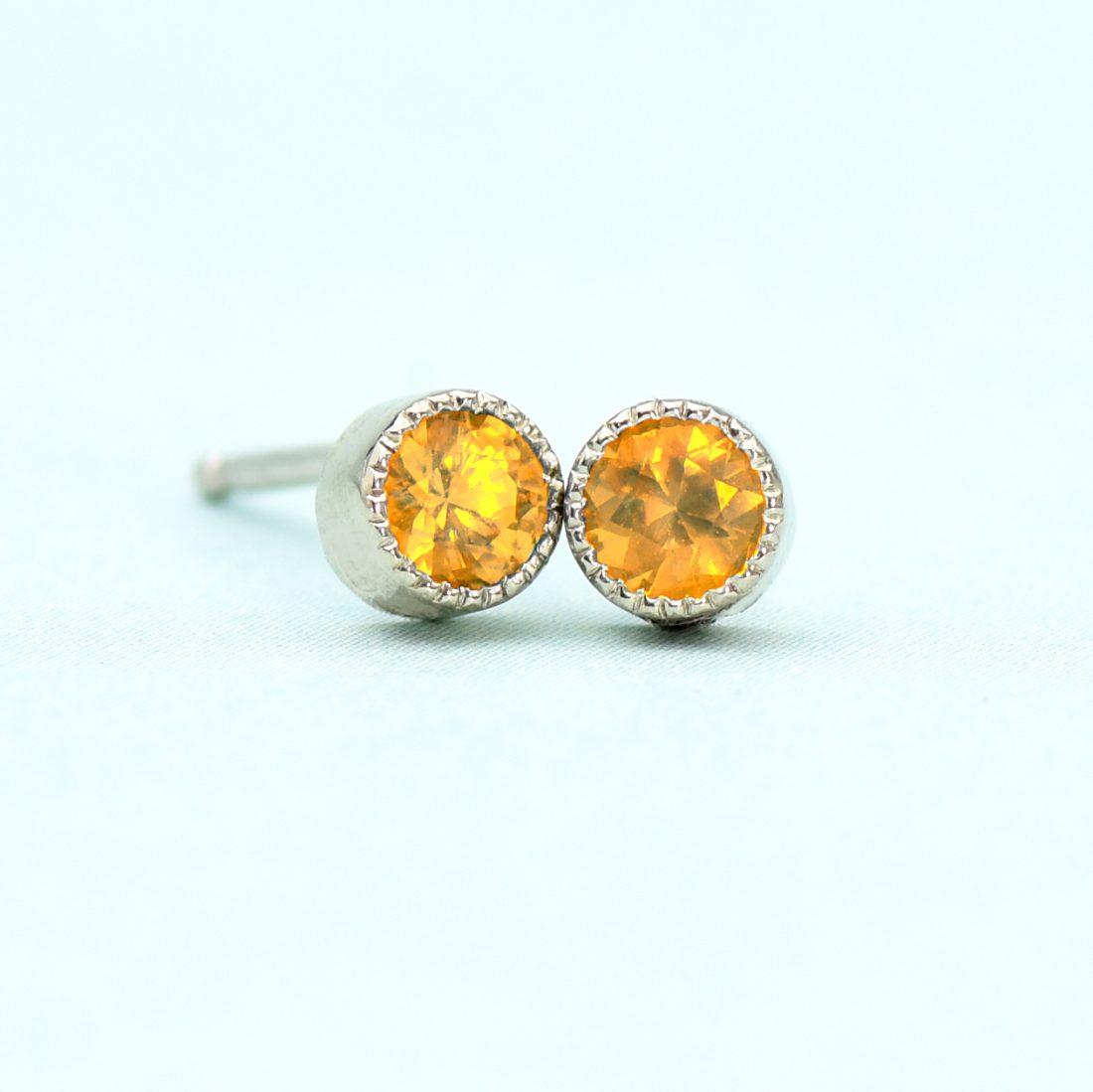 citrine stud earrings white gold