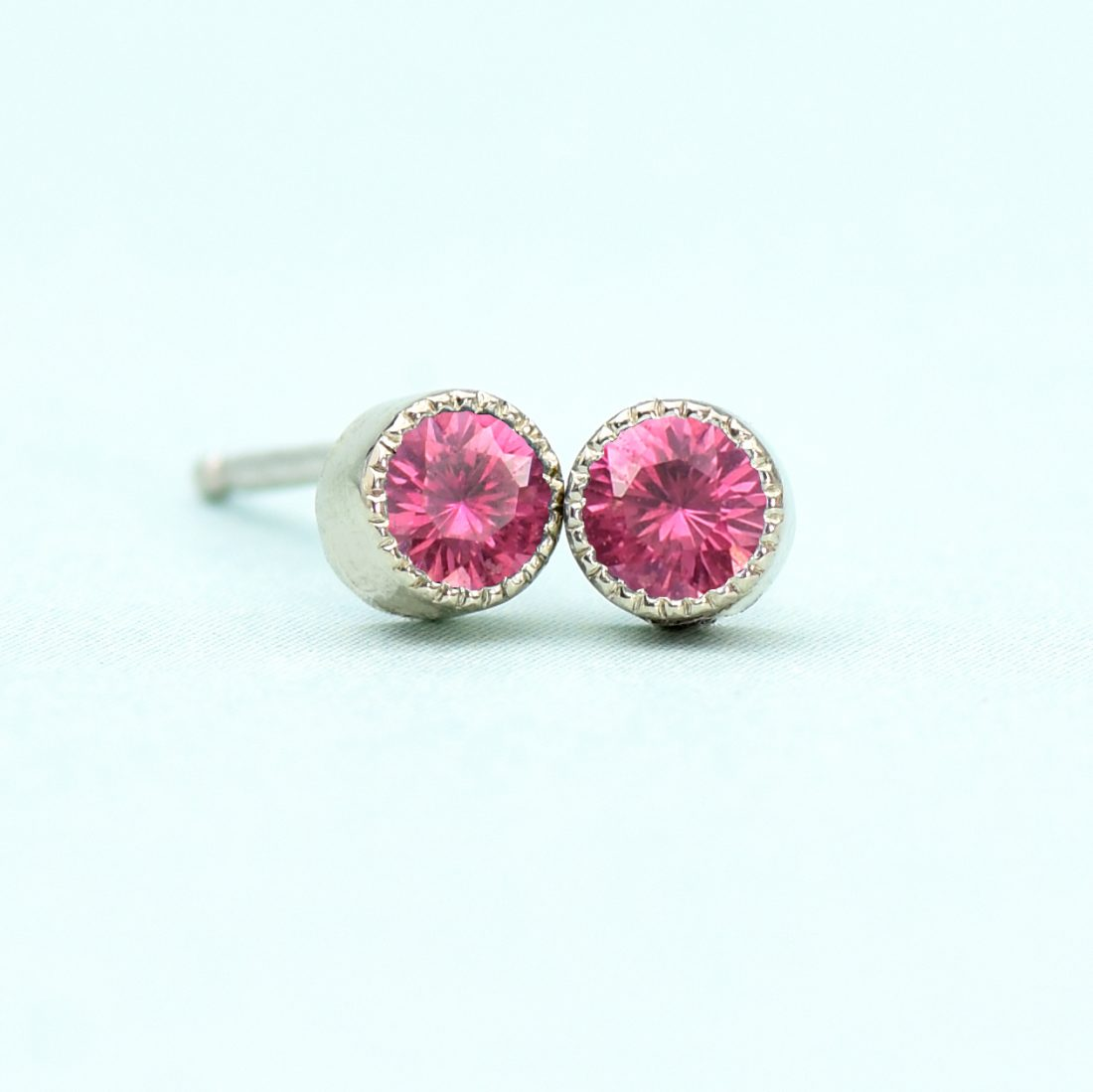 white gold ruby stud earrings
