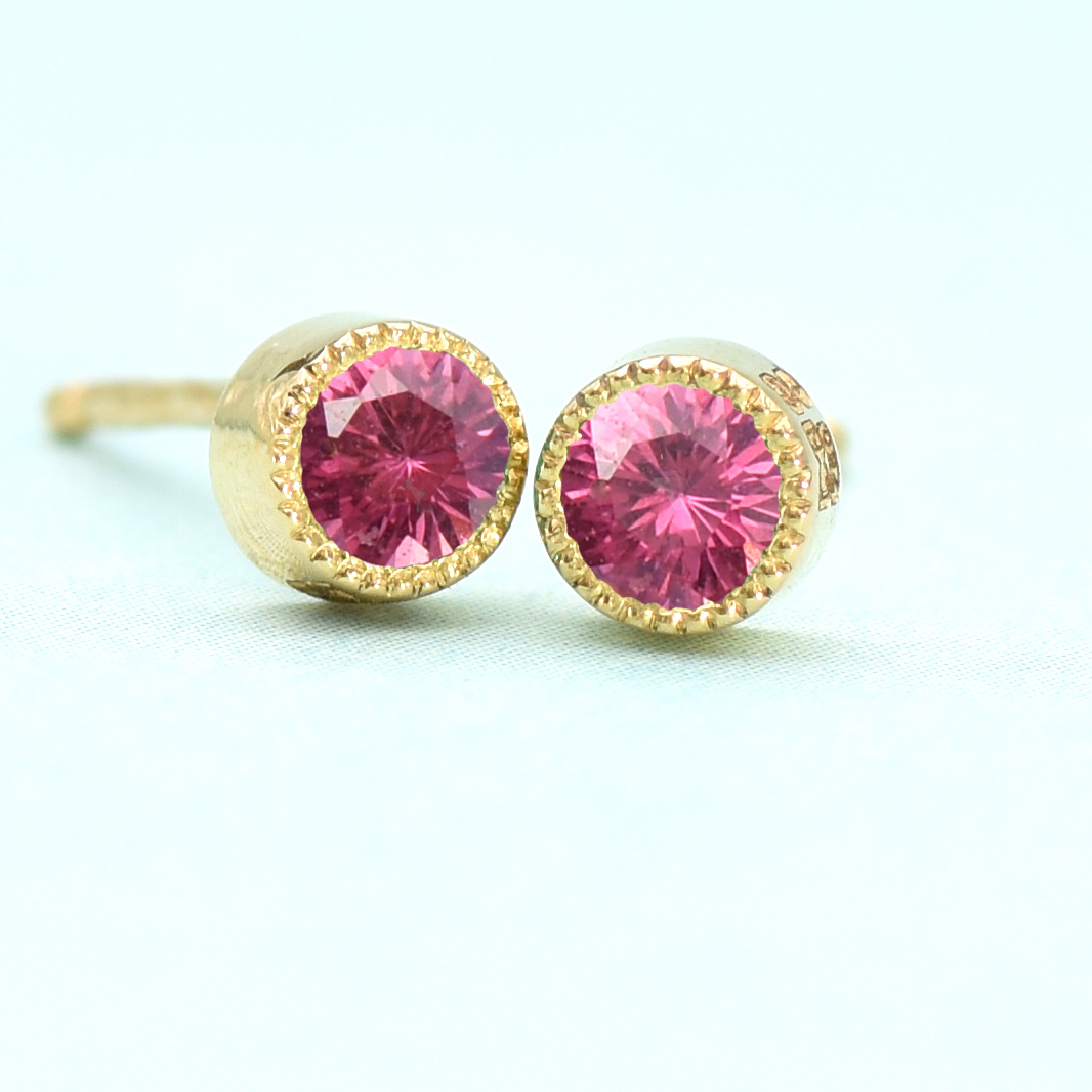 ruby stud earrings 18ct gold