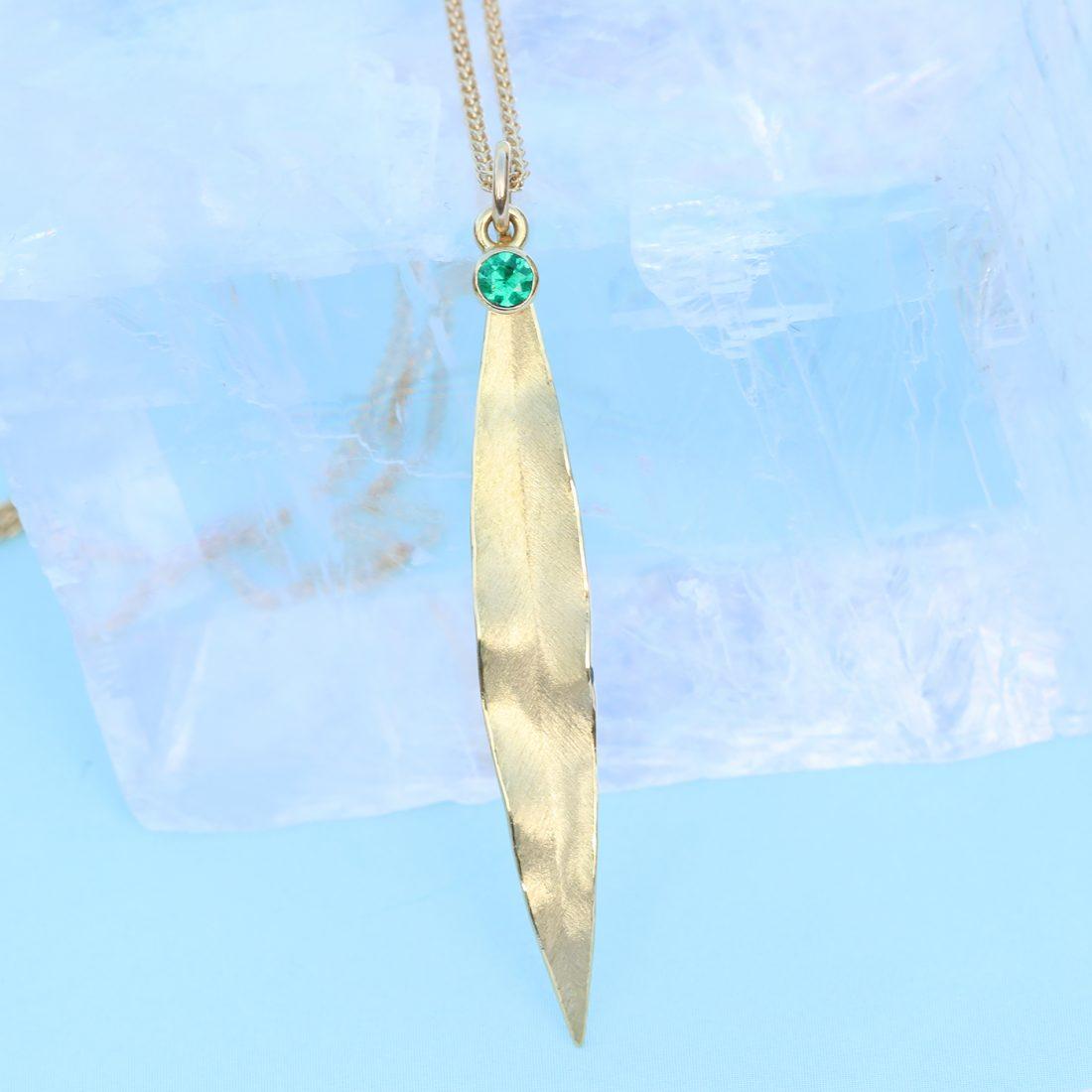 emerald gold leaf pendant