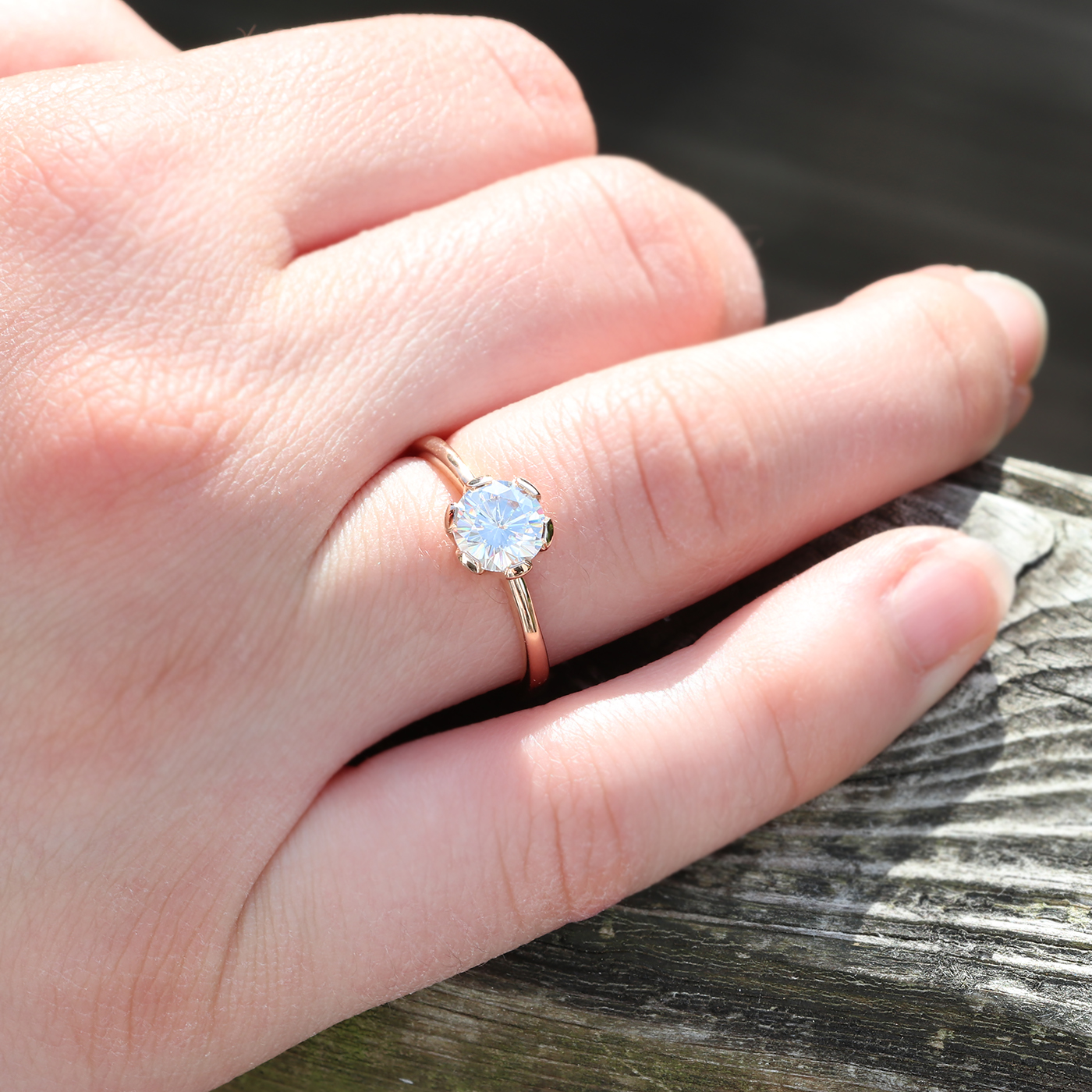 Moissanite Engagement Ring In 18ct Rose Gold Size M 1 2 Can Be Resized J 1 2 To N Lilia Nash