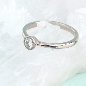 moissanite solitaire engagement ring - lab grown diamond