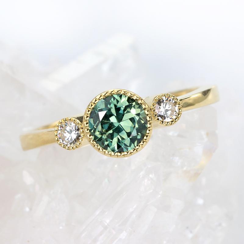Australian sapphire diamond trilogy ring
