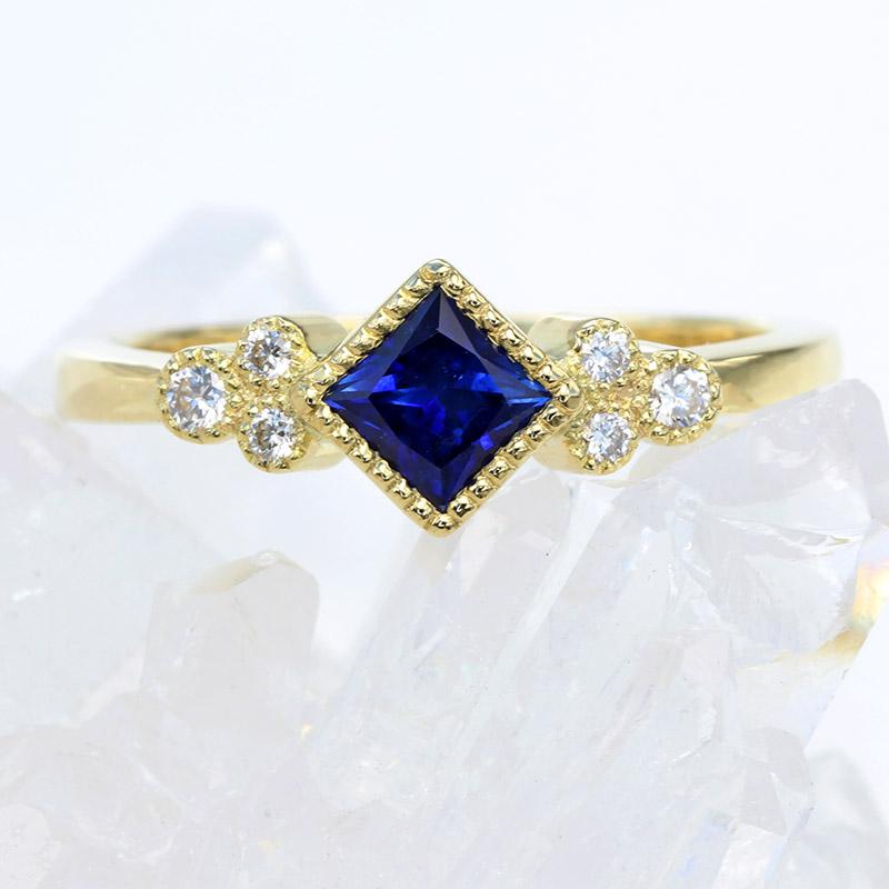 Ceylon sapphire diamond cluster ring
