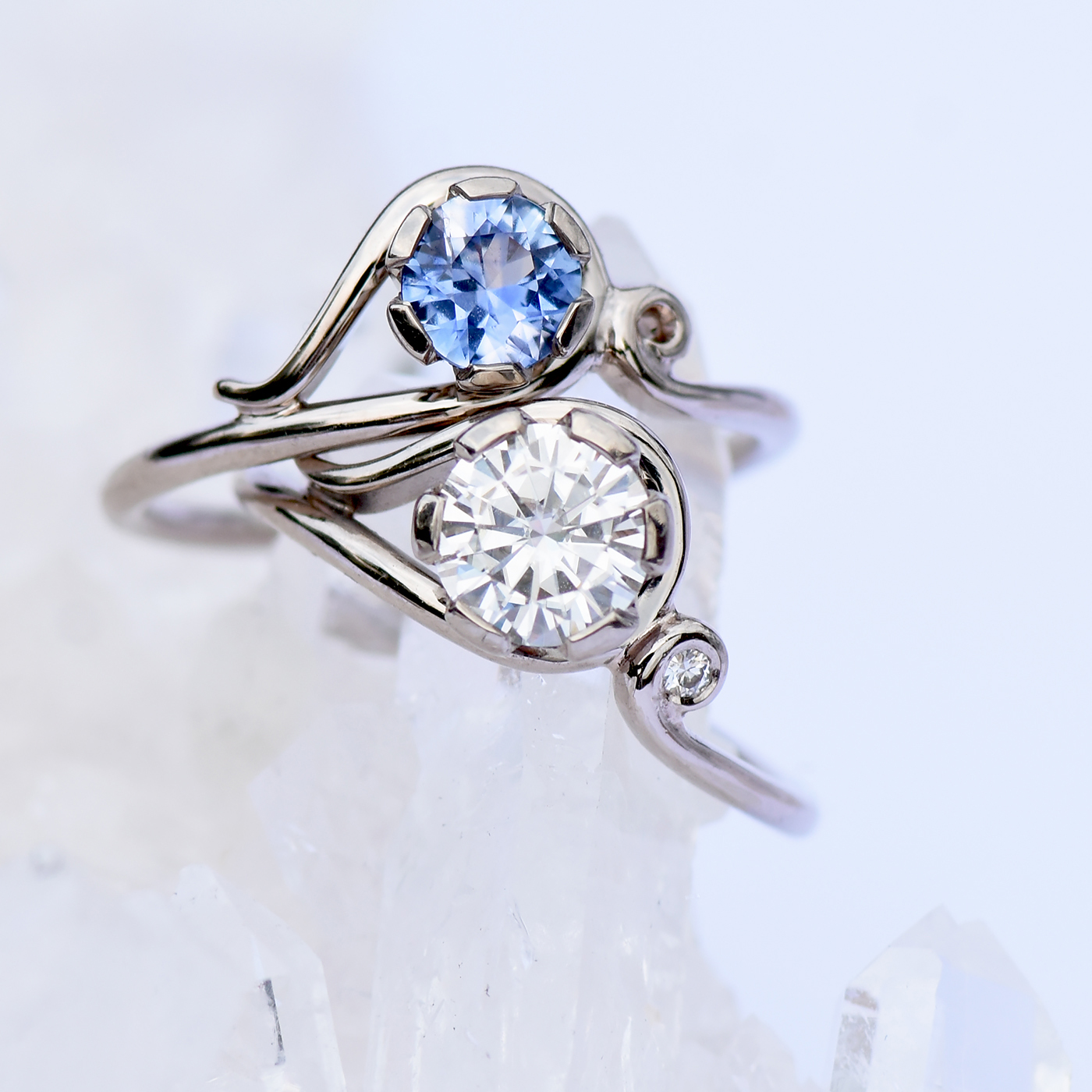 Customise the Art Nouveau ring by Lilia Nash with your choice of gold, rose, gold, white gold & platinum. Diamond, sapphire, ruby & other gemstones available.