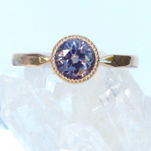 Bespoke purple sapphire engagement ring