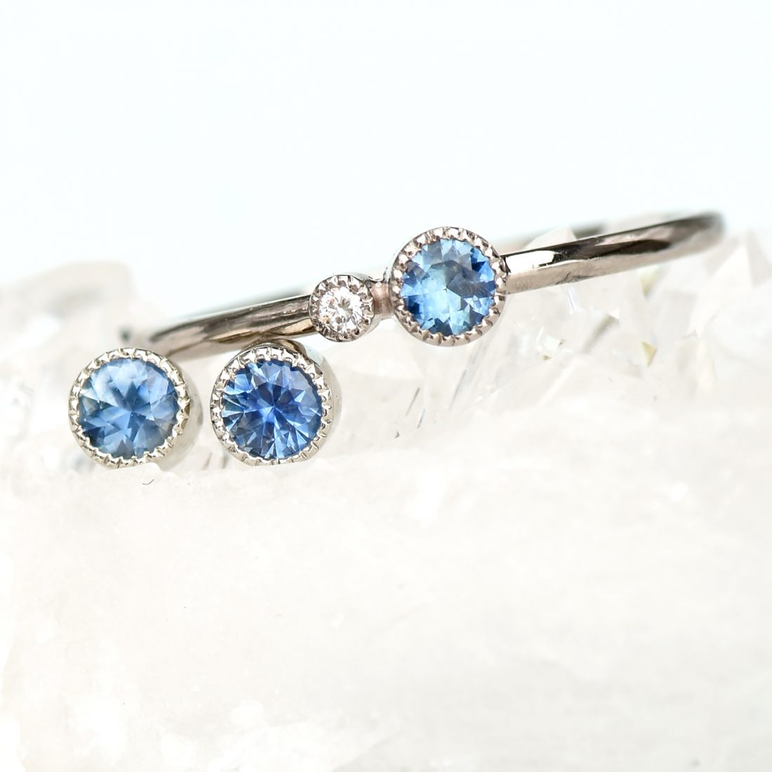 Sapphire stud earrings & Stacking Ring