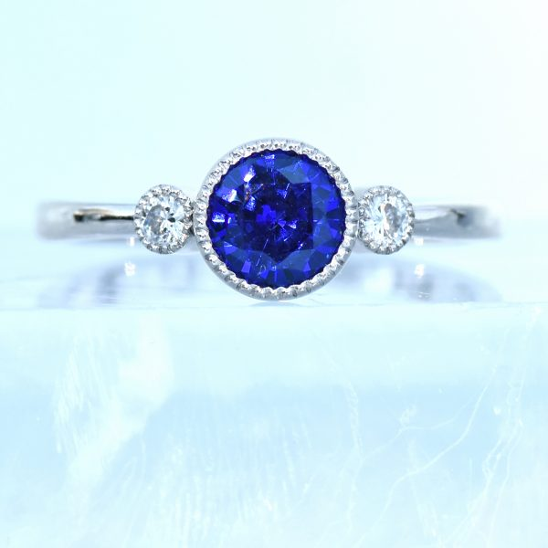 18ct White Gold Blue Sapphire & Moissanite Engagement Ring