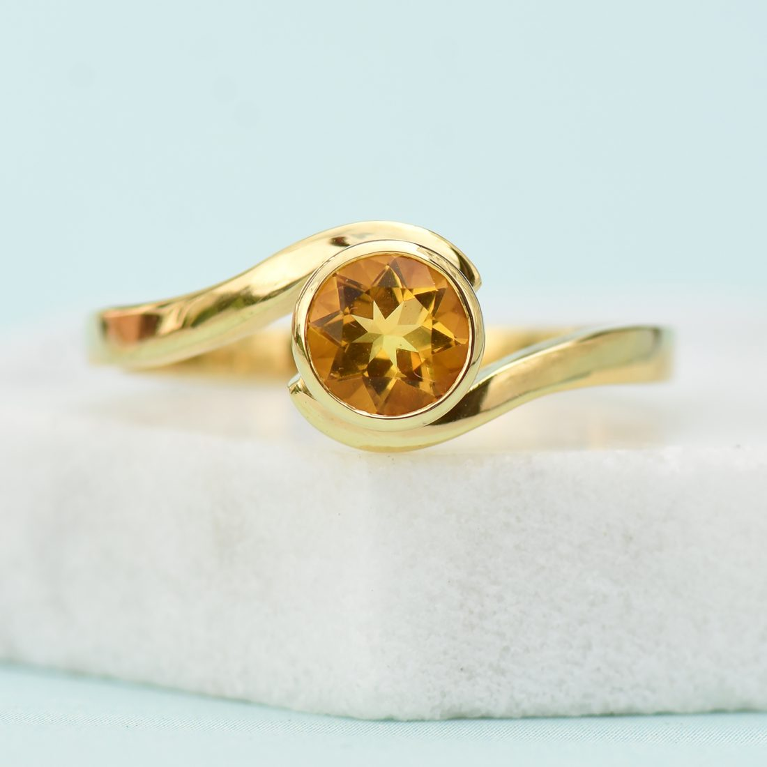 18ct Gold Citrine Swirl Ring - November Birthstone