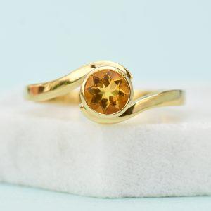 18ct Gold Citrine Swirl Ring - November Birthstone