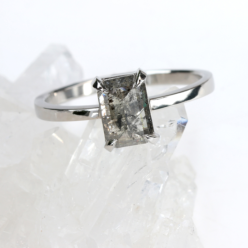 custom emerald cut salt and pepper diamond ring platinum