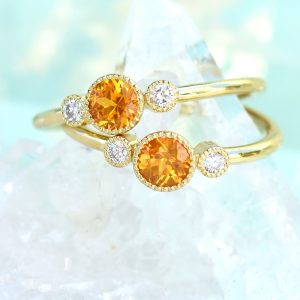 Gold Honey Yellow Sapphire Engagement Rings