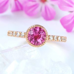 hot-pink sapphire and diamond ring