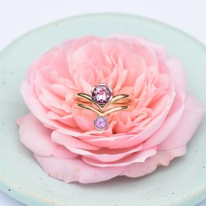 Morganite & Pink Sapphire Stacking Ring Set