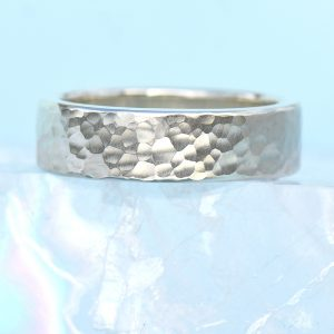 Hammered sterling silver chunky ring