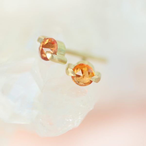 18ct Gold Orange Sapphire Stud Earrings