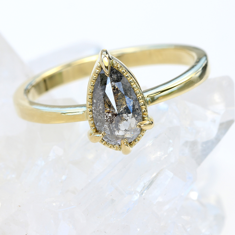 pear cut salt and pepper diamond ring
