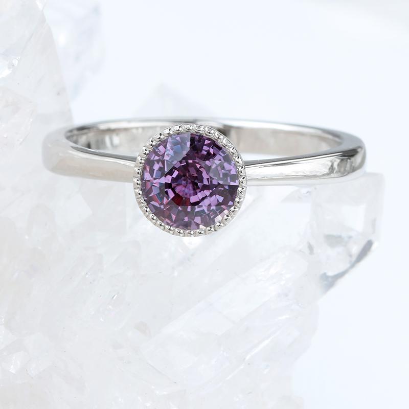 purple sapphire ring platinum